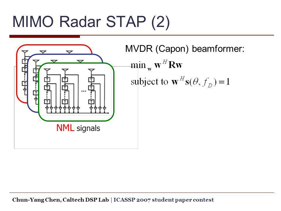 MIMO Radar STAP (2) MVDR (Capon) beamformer: NML signals