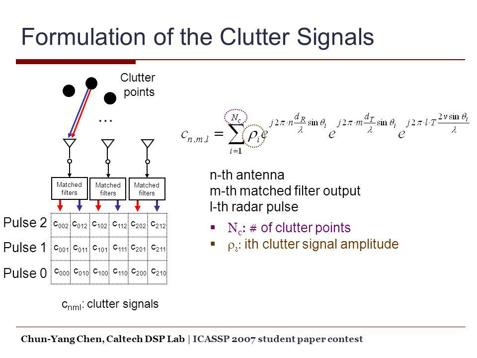 Formulation of the Clutter Signals
