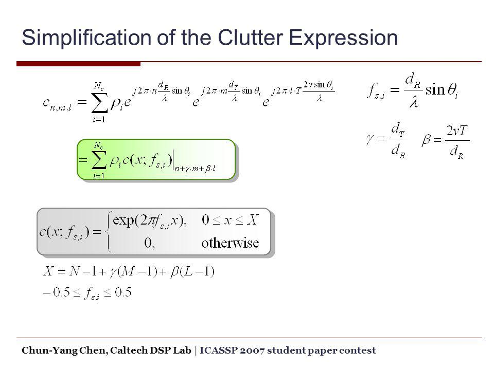 Simplification of the Clutter Expression