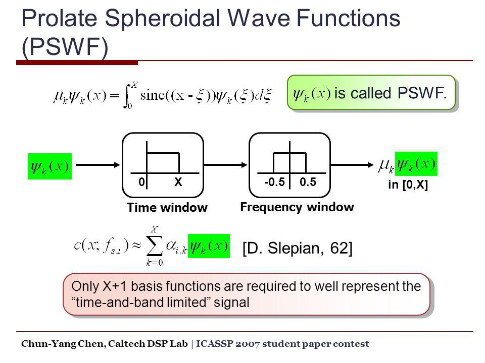 Prolate Spheroidal Wave Functions (PSWF)