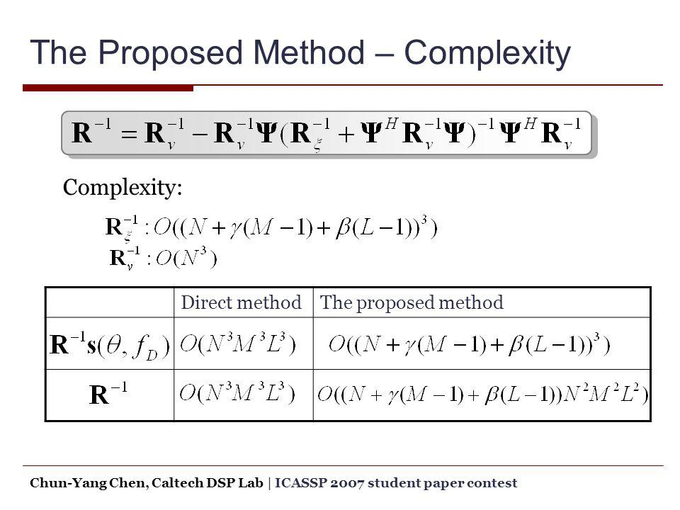 The Proposed Method – Complexity