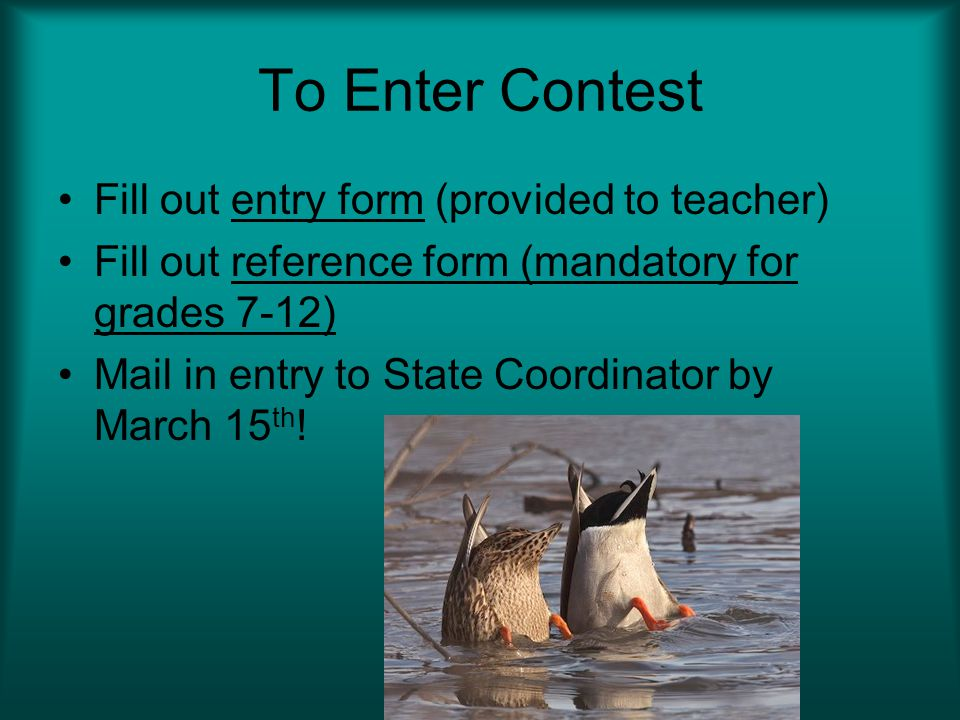To Enter Contest Fill out entry form (provided to teacher)