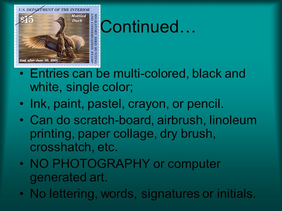 Continued… Entries can be multi-colored, black and white, single color; Ink, paint, pastel, crayon, or pencil.
