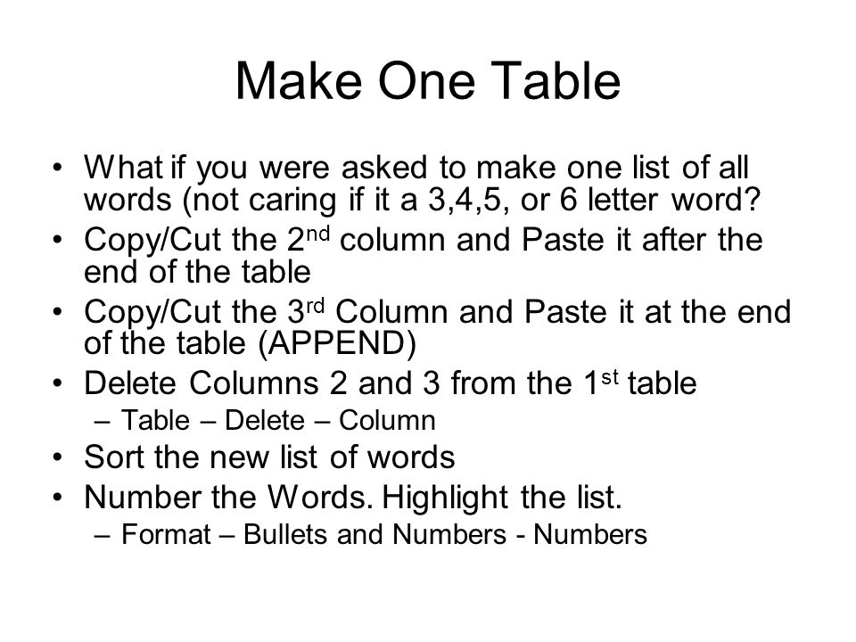 Make One Table What if you were asked to make one list of all words (not caring if it a 3,4,5, or 6 letter word