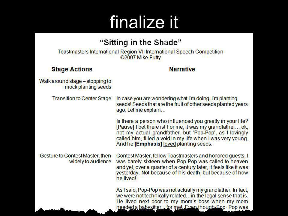 finalize it