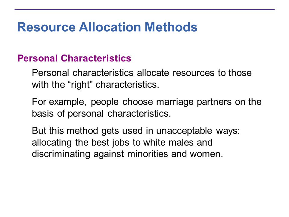 Resource Allocation Methods