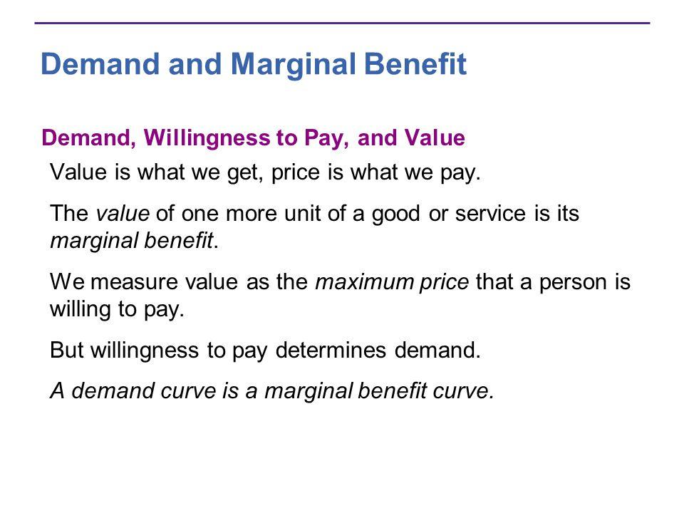 Demand and Marginal Benefit