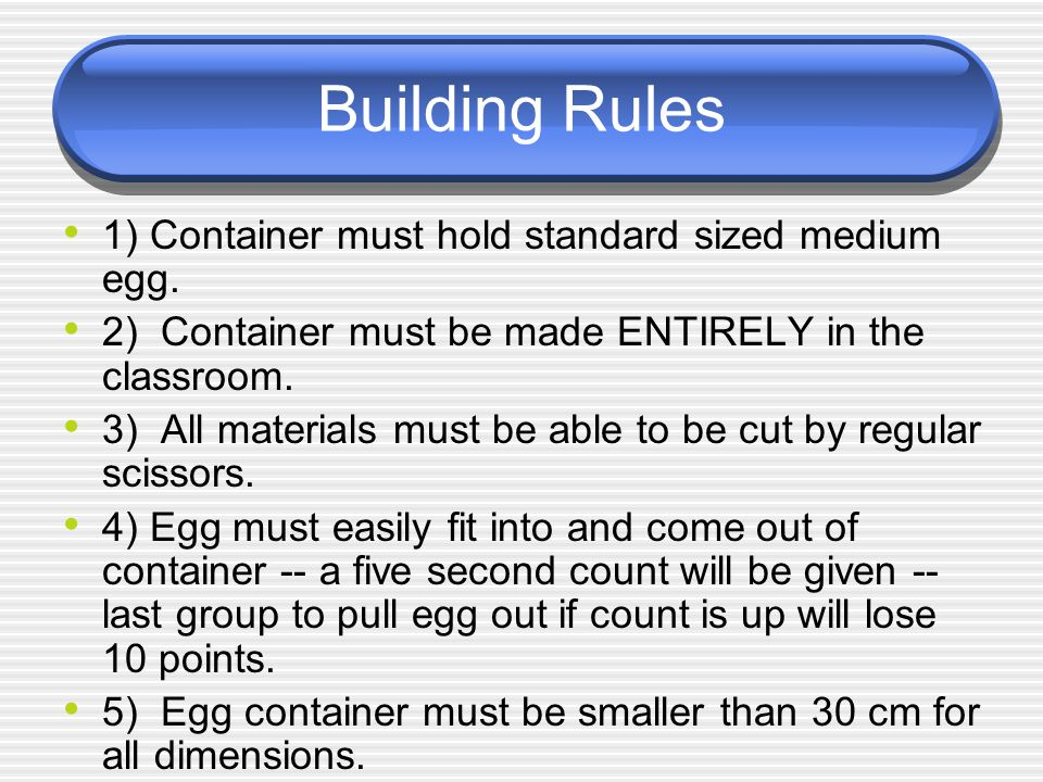 Building Rules 1) Container must hold standard sized medium egg.