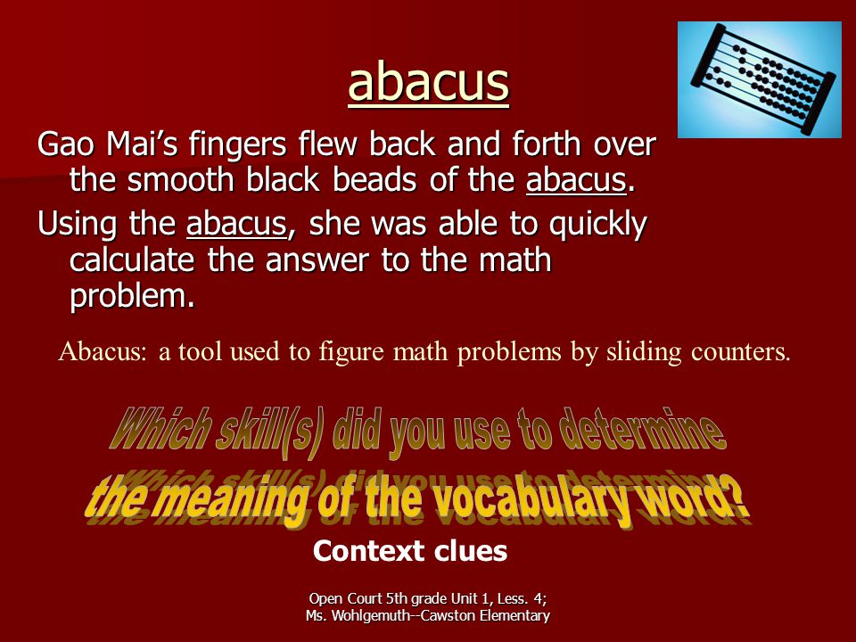 abacus Which skill(s) did you use to determine