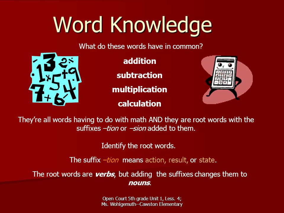 Word Knowledge addition subtraction multiplication calculation