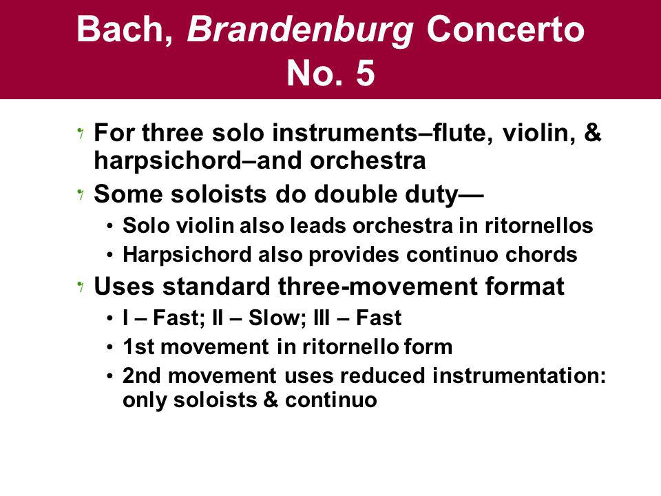 brandenburg concerto no. 5 movement 1 analysis Find composition details, parts / movement information and albums that   johann sebastian bach most likely completed his brandenburg concerto no   no other composer of the baroque era could write through the constraints of form  as if it was  2005 bach: piano concertos nos 1, 4 & 5 brandenburg concerto  no 5.