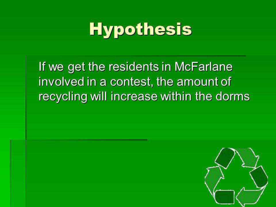 Hypothesis If we get the residents in McFarlane involved in a contest, the amount of recycling will increase within the dorms.