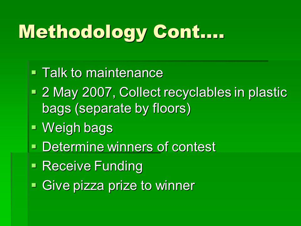 Methodology Cont…. Talk to maintenance