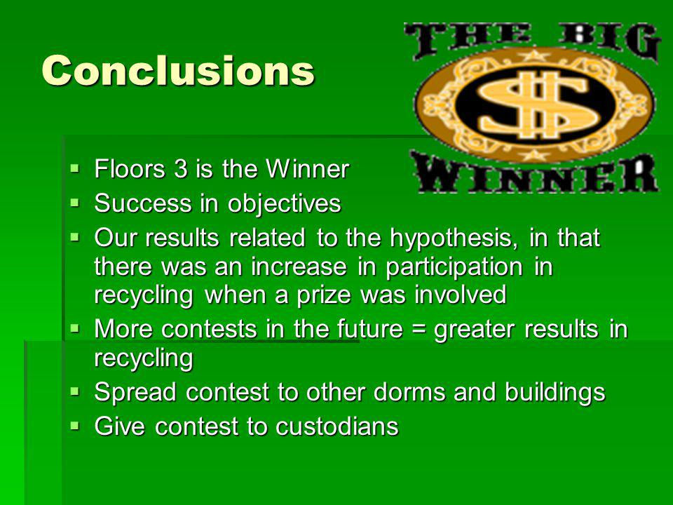 Conclusions Floors 3 is the Winner Success in objectives