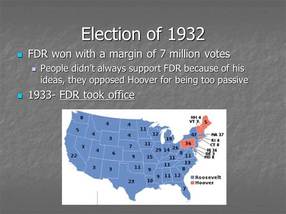 Election of 1932 FDR won with a margin of 7 million votes