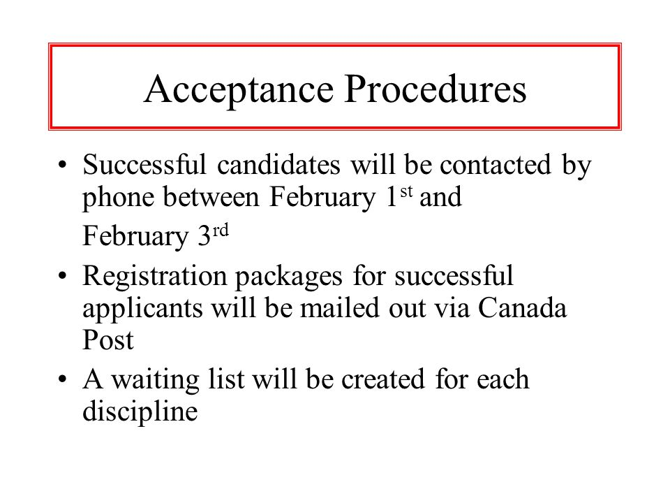 Acceptance Procedures