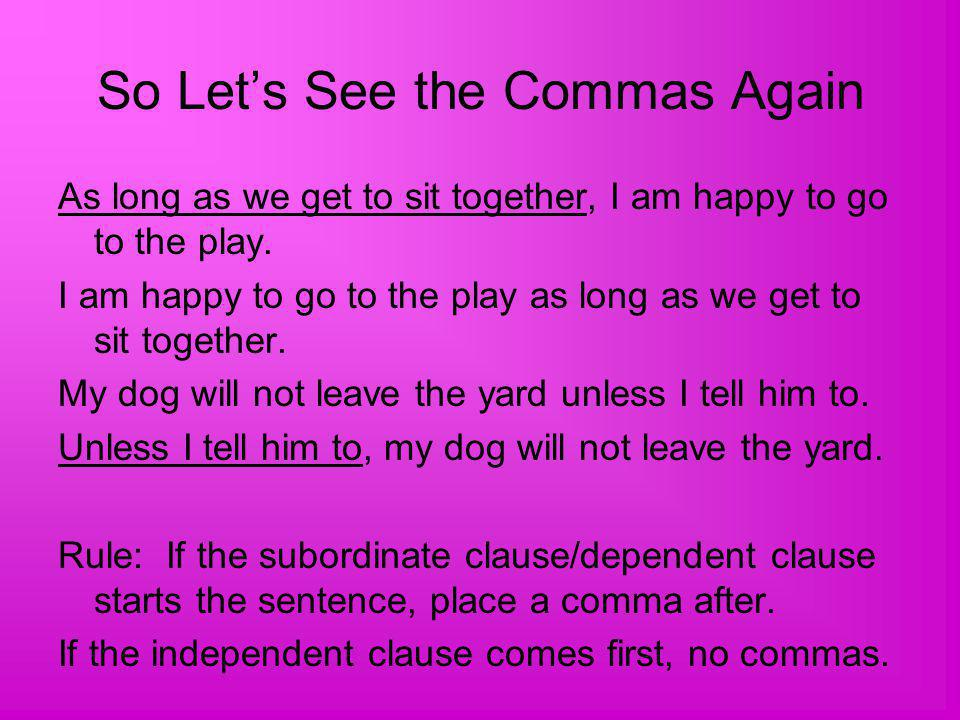 So Let's See the Commas Again