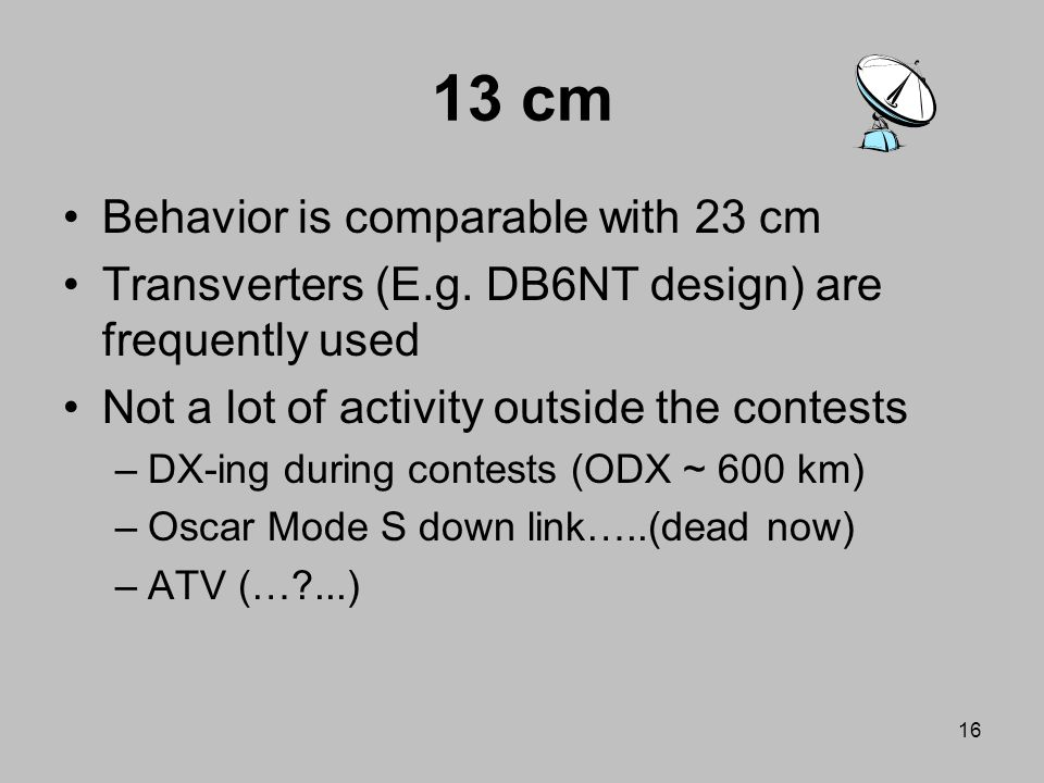 13 cm Behavior is comparable with 23 cm