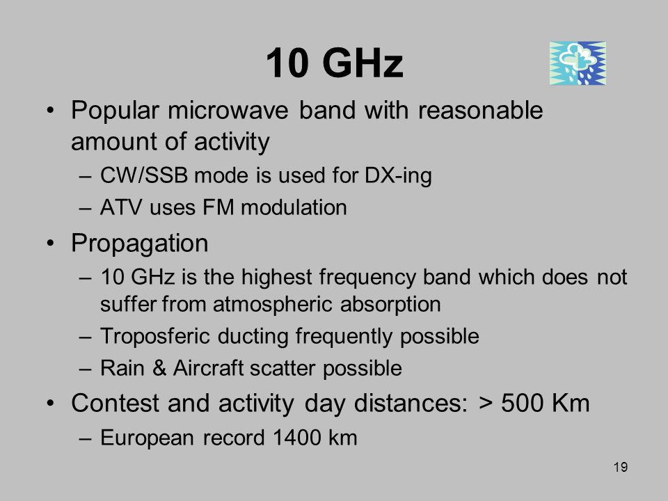 10 GHz Popular microwave band with reasonable amount of activity