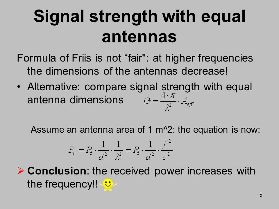 Signal strength with equal antennas