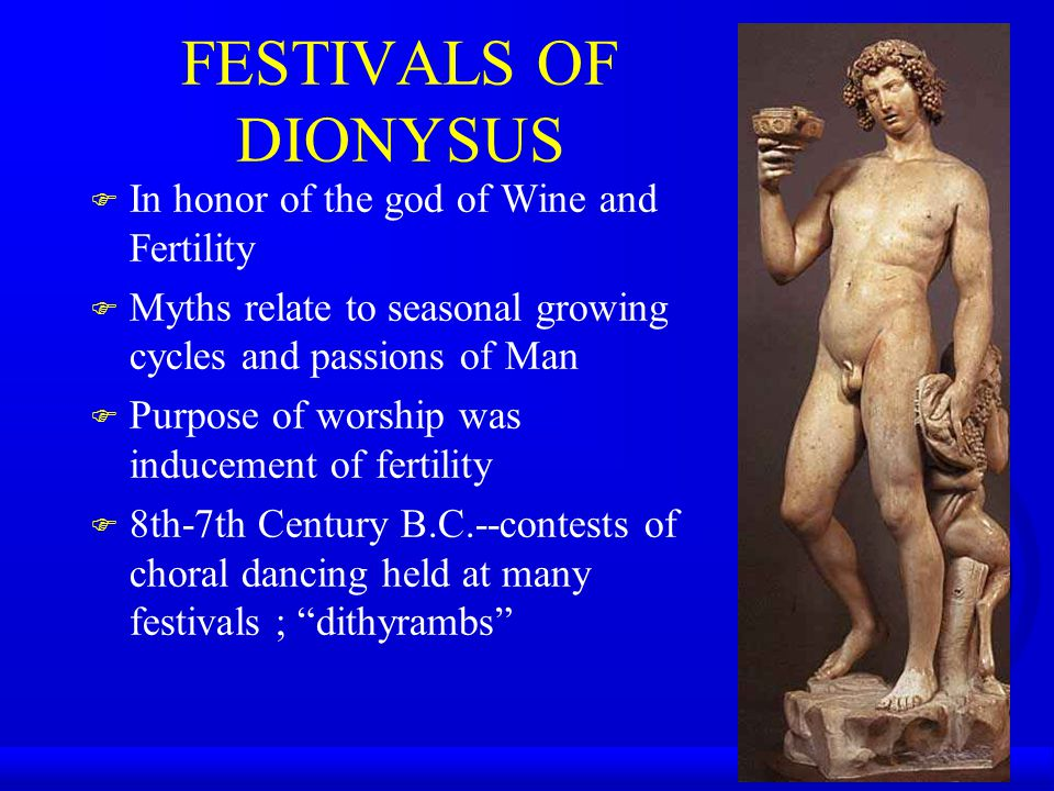 FESTIVALS OF DIONYSUS In honor of the god of Wine and Fertility