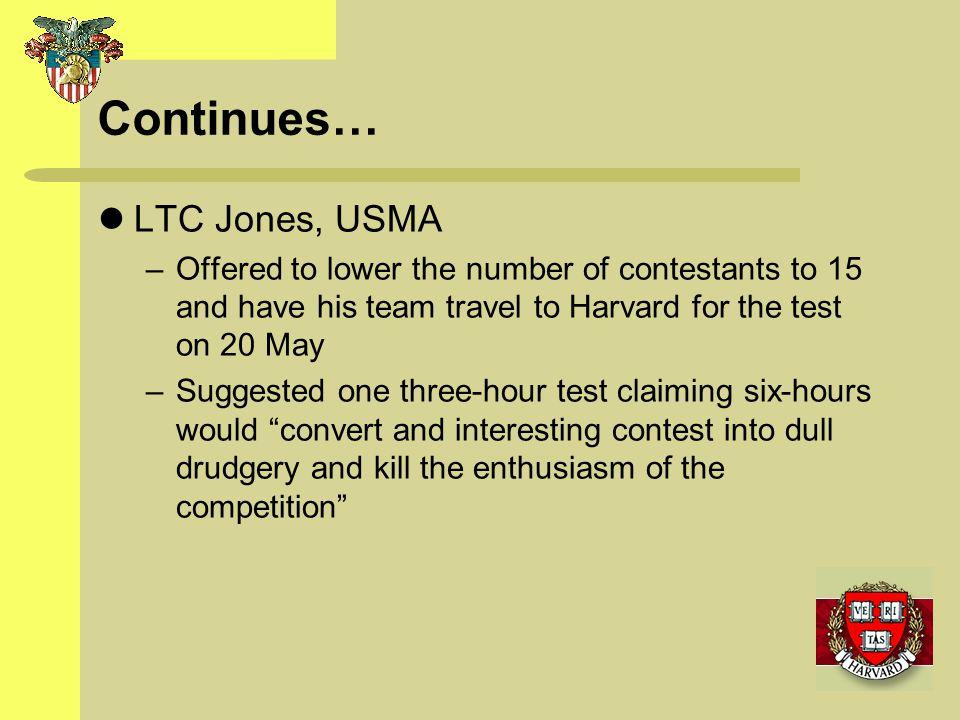 Continues… LTC Jones, USMA
