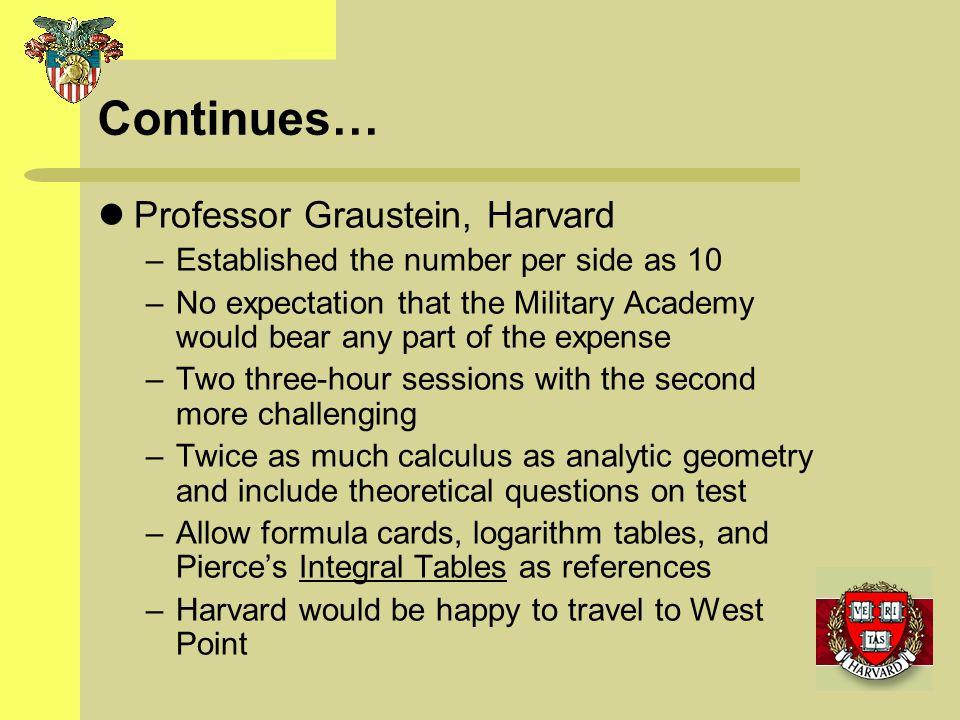 Continues… Professor Graustein, Harvard