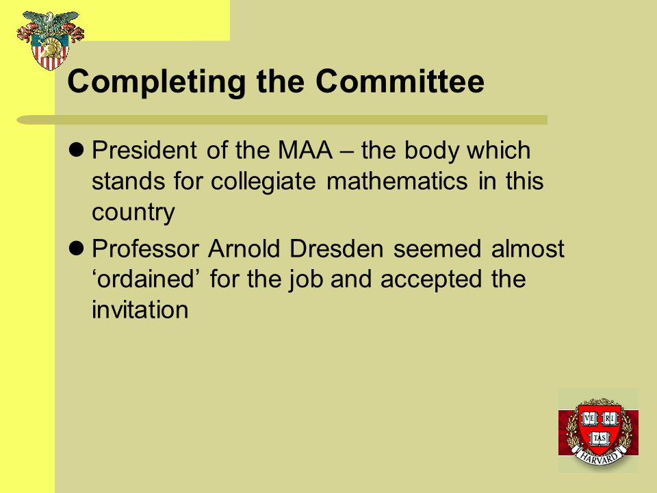 Completing the Committee