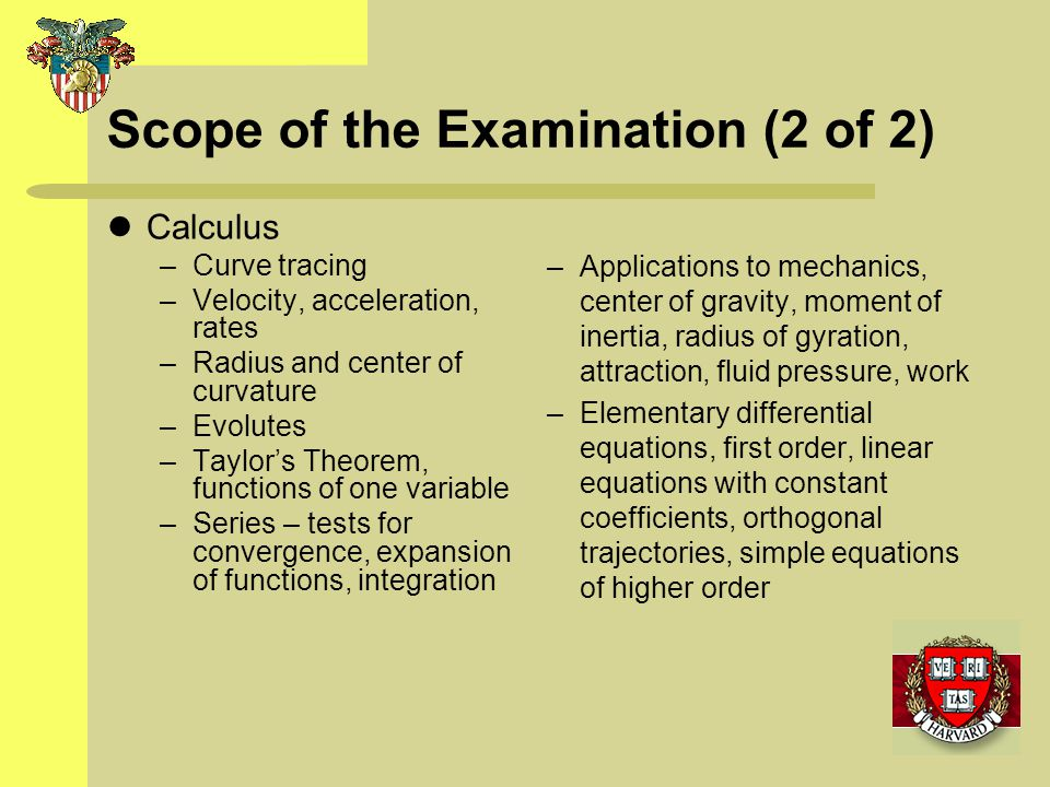 Scope of the Examination (2 of 2)