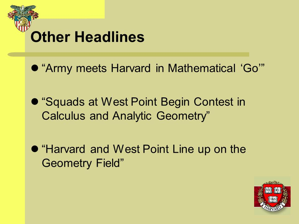 Other Headlines Army meets Harvard in Mathematical 'Go'
