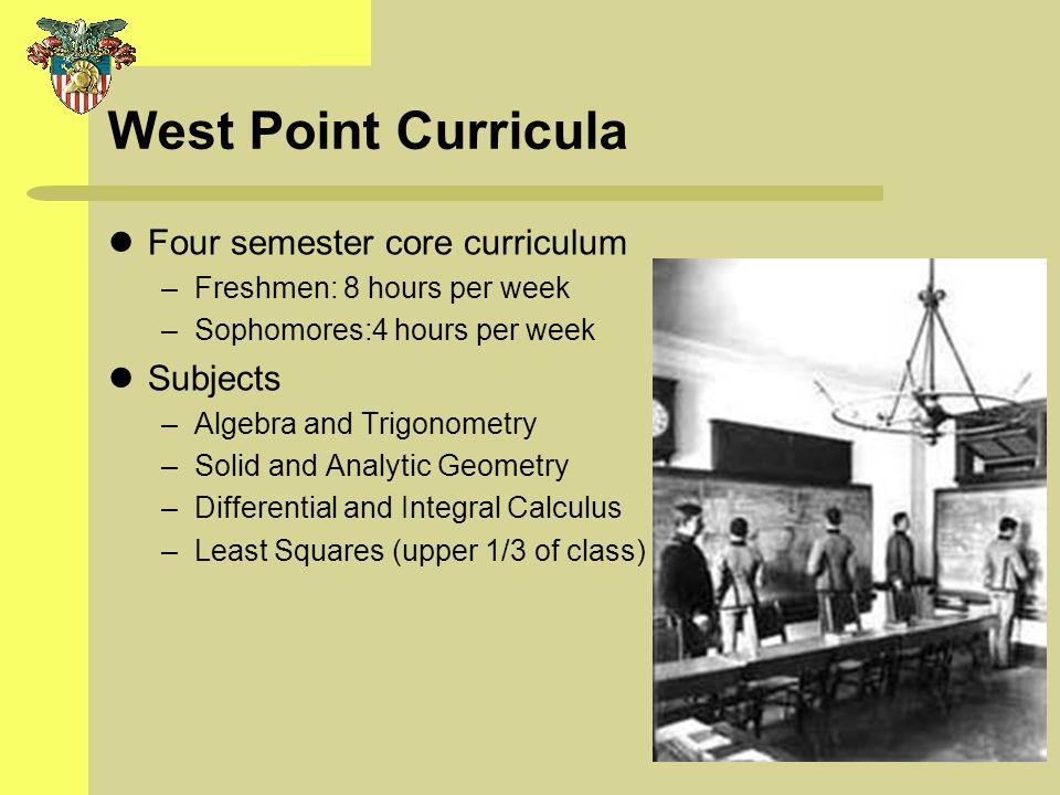 West Point Curricula Four semester core curriculum Subjects