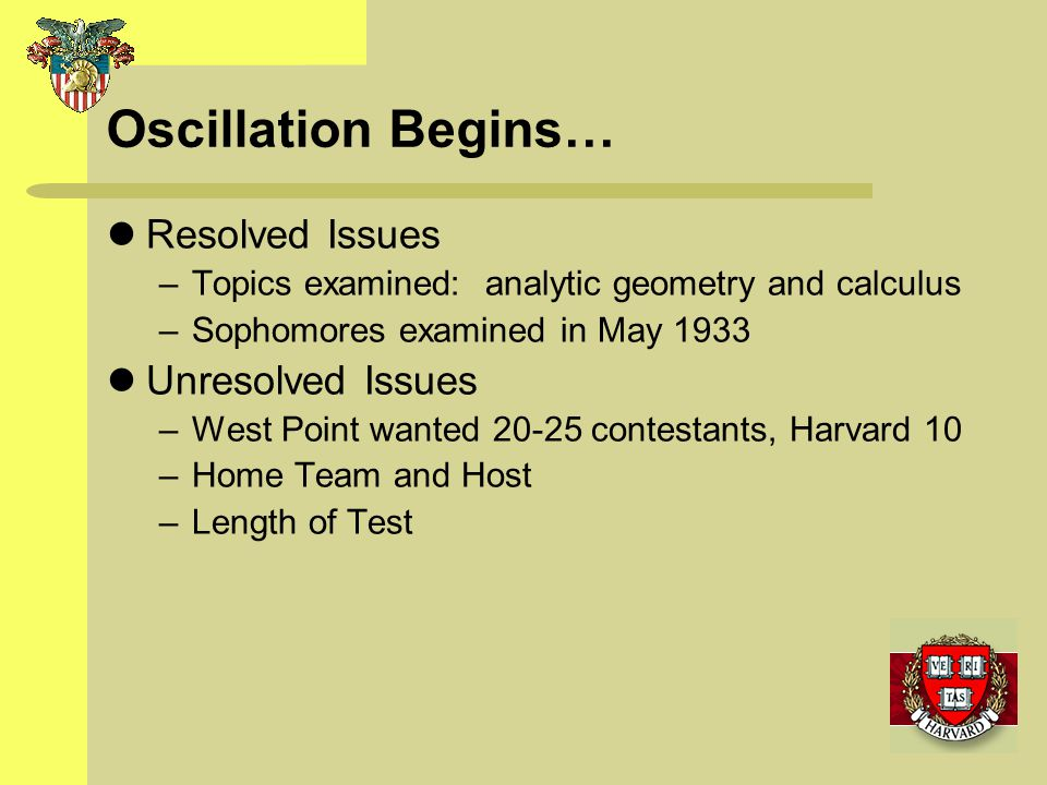 Oscillation Begins… Resolved Issues Unresolved Issues