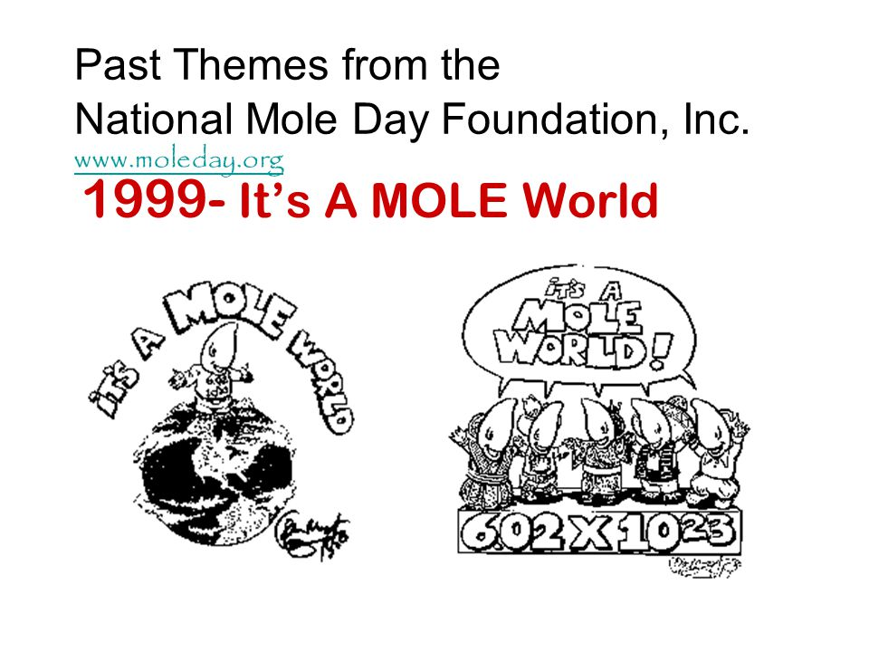 Past Themes from the National Mole Day Foundation, Inc. www. moleday