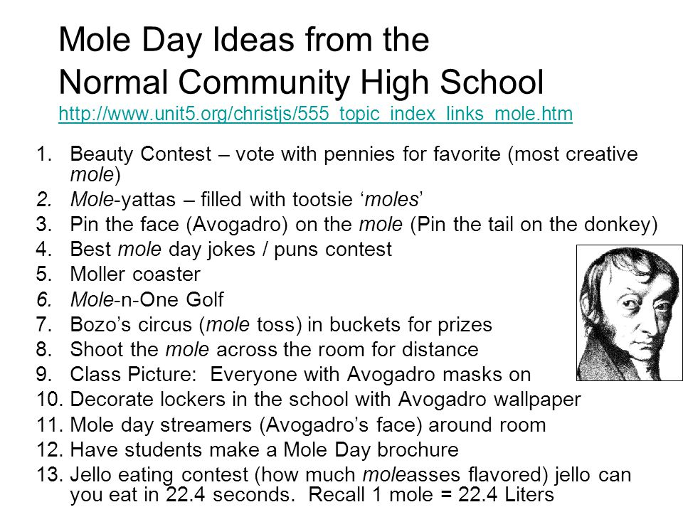 Mole Day Ideas from the Normal Community High School http://www. unit5