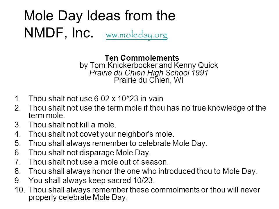 Mole Day Ideas from the NMDF, Inc. ww.moleday.org