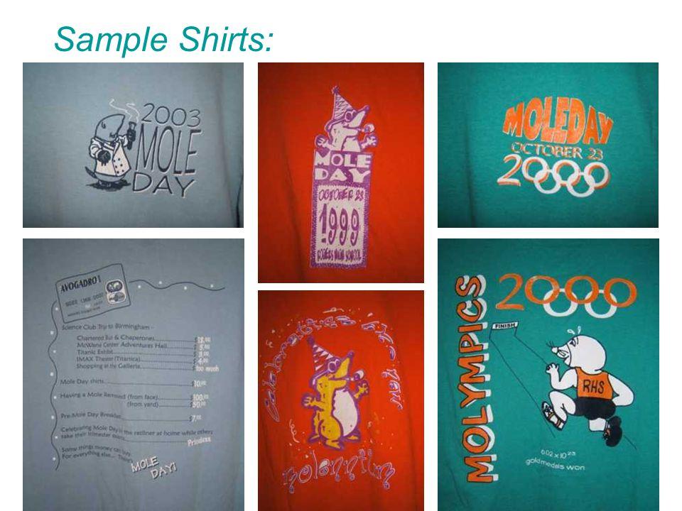 Sample Shirts: Front Back Front Back Back Front