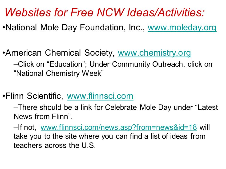 Websites for Free NCW Ideas/Activities: