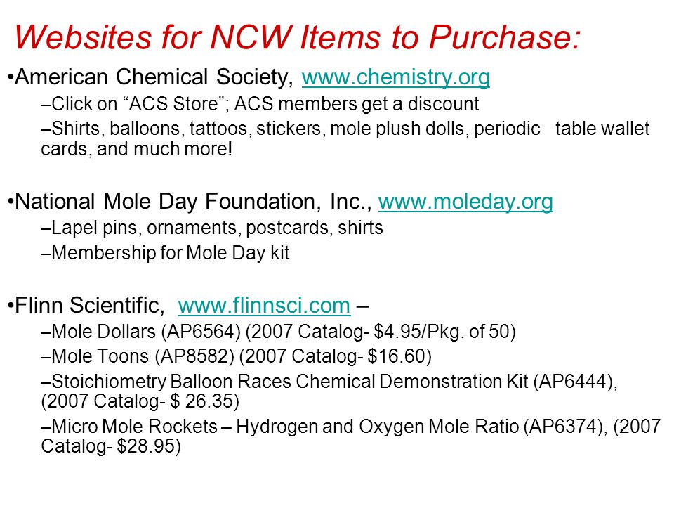 Websites for NCW Items to Purchase: