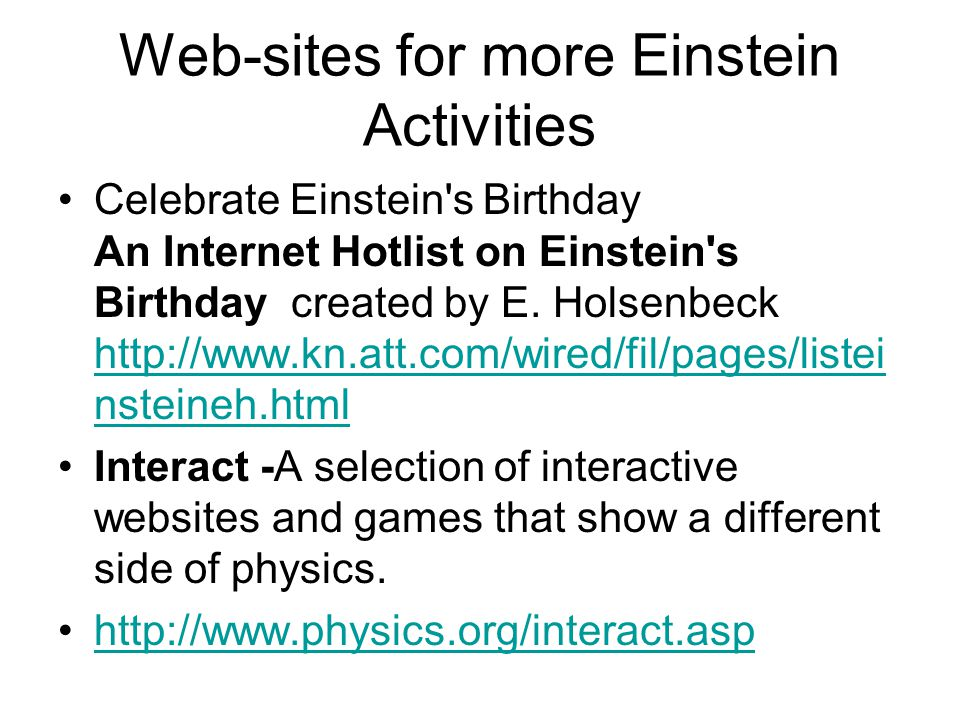 Web-sites for more Einstein Activities