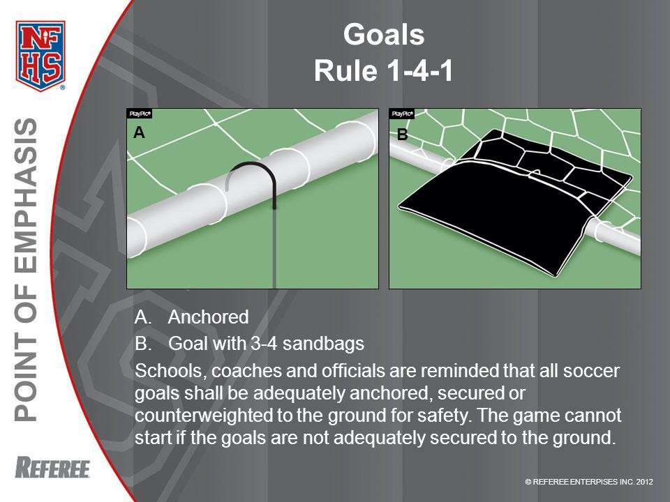Goals Rule 1-4-1 Anchored Goal with 3-4 sandbags