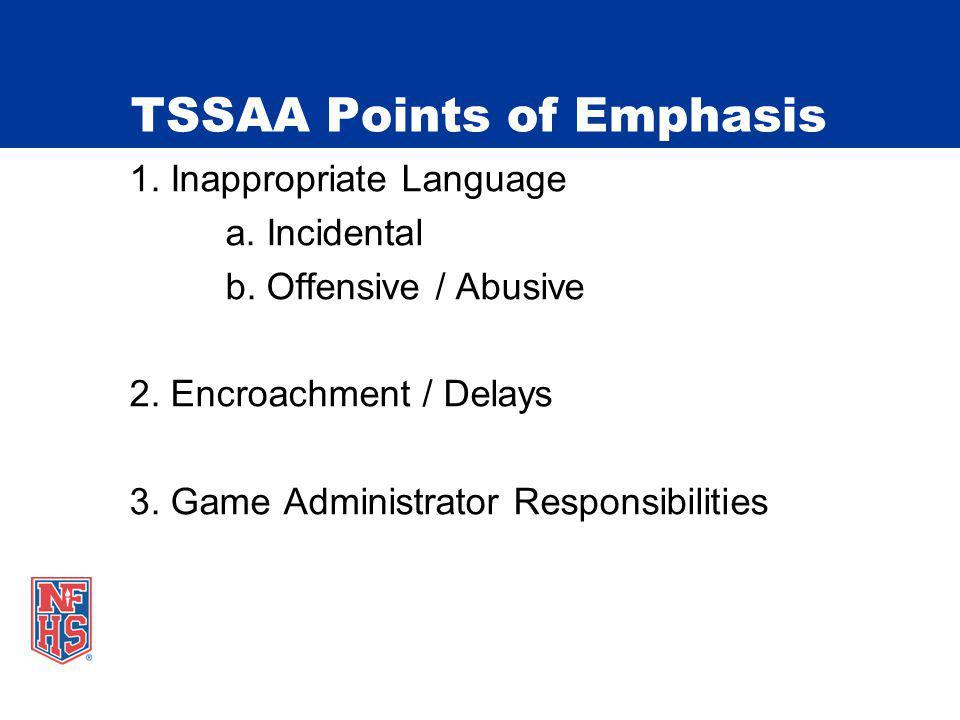 TSSAA Points of Emphasis