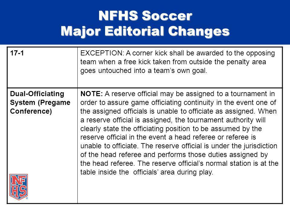 NFHS Soccer Major Editorial Changes