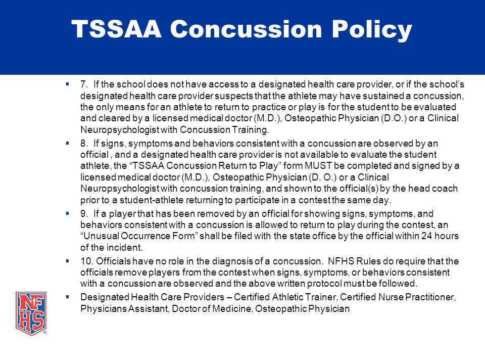 TSSAA Concussion Policy