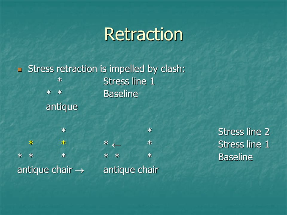 Retraction Stress retraction is impelled by clash: * Stress line 1
