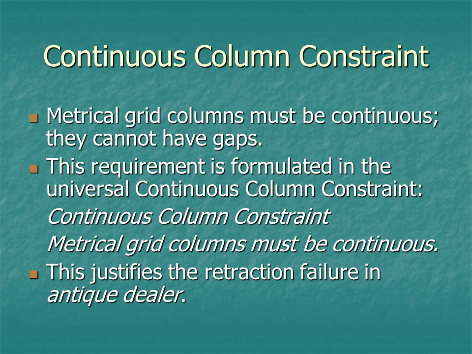 Continuous Column Constraint