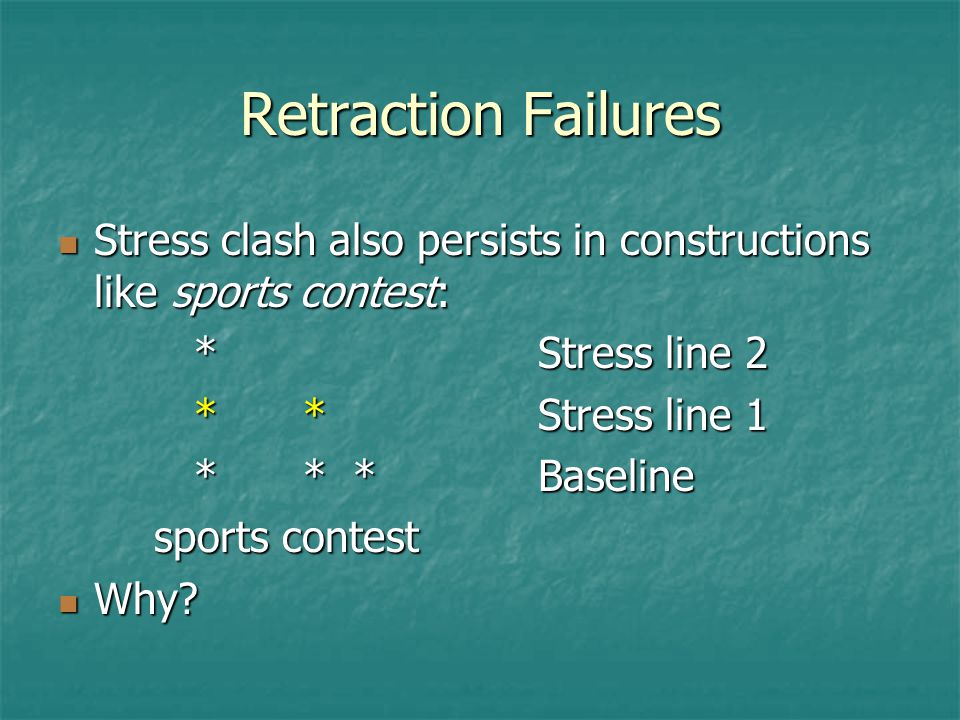 Retraction Failures Stress clash also persists in constructions like sports contest: * Stress line 2.