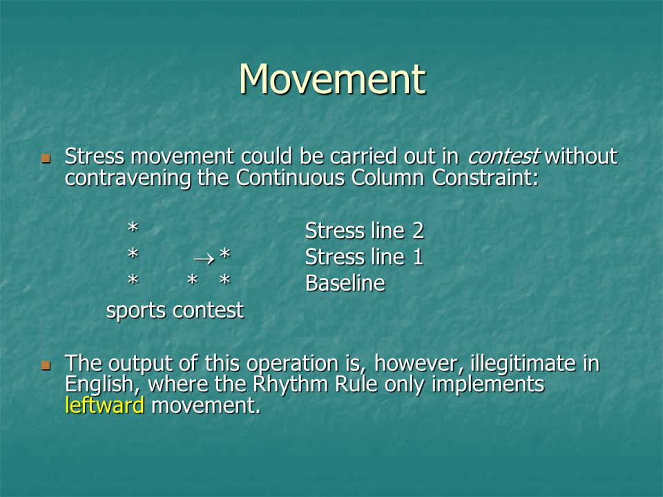 Movement Stress movement could be carried out in contest without contravening the Continuous Column Constraint: