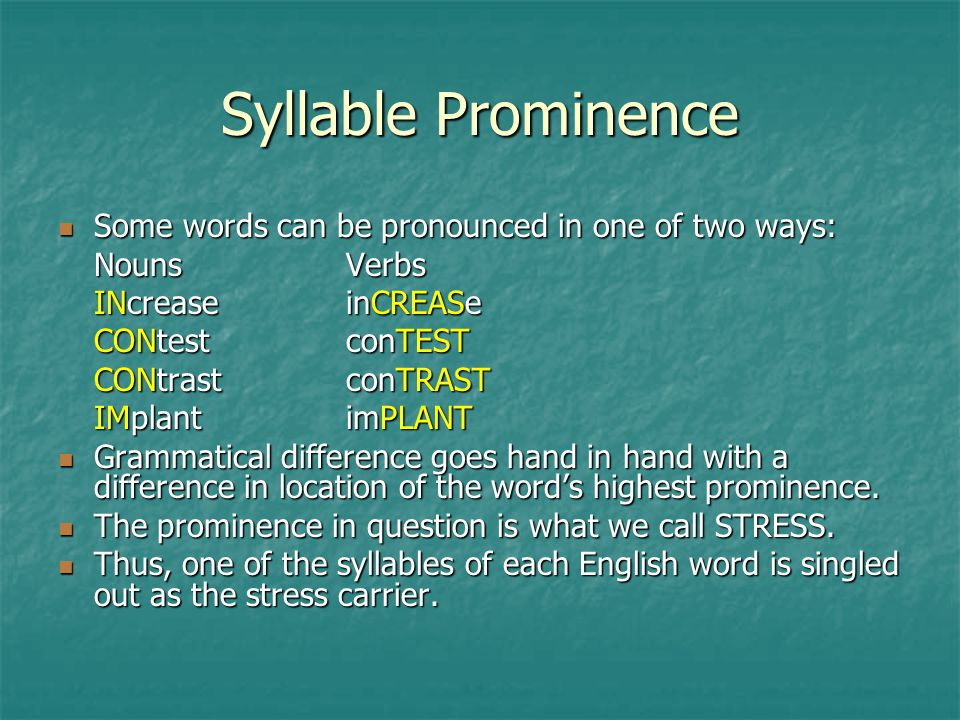 Syllable Prominence Some words can be pronounced in one of two ways: