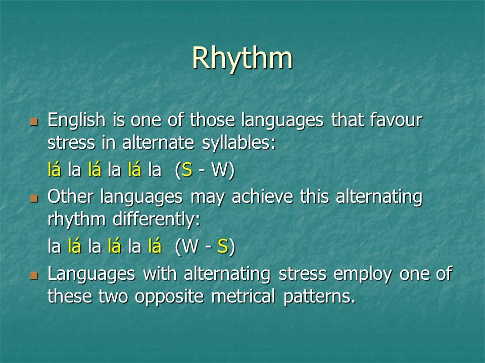 Rhythm English is one of those languages that favour stress in alternate syllables: lá la lá la lá la (S - W)