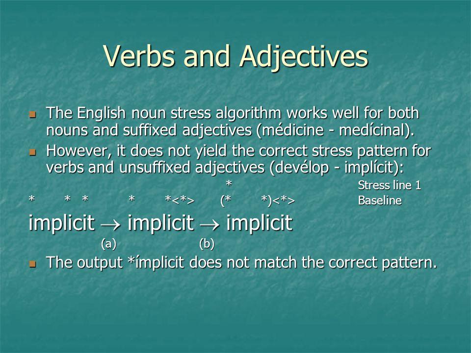 Verbs and Adjectives implicit  implicit  implicit